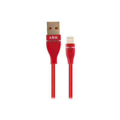 S-link Swapp SW-C640 1M 3A iPhone Lightning Red Charging Cable