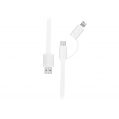 S-link Swapp SW-C215 15cm USB Micro / İPhone Beyaz 2 in 1 Flat Cable