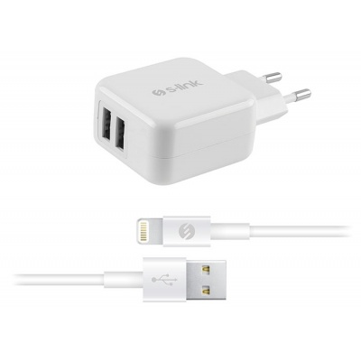 S-link Swapp IP-SW17 Dual Usb iPod / iPhone / iPad 5V 3.1A AppleLicensed White Home Charger Adapter